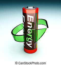 Rechargeable Battery - 3D rendered Illustration. Symbol for...