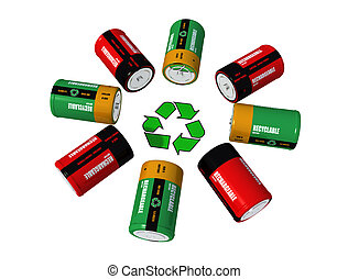 rechargeable batterys and recycling symbol - 3d rendering