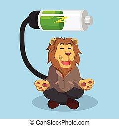 recharger, lion, conception, illustration affaires