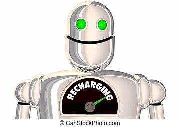 Recharging Energy Power Robot Refueling 3d Illustration