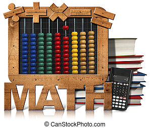rechenbrett, tafel, text, mathe, buecher, und, taschenrechner