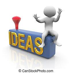 recherche, 3d, idées, homme