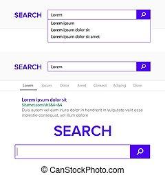 recherche, barre, champ, vector., moteur recherche, navigateur, fenêtre, template., surgir, liste, recherche, results., plat, gabarit, conception, pour, internet, navigateur web, ou, toile, page.