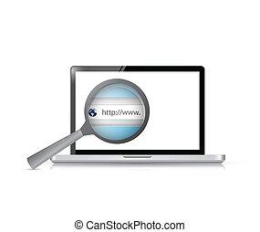 recherche, barre, ordinateur portable, illustration, conception, vue
