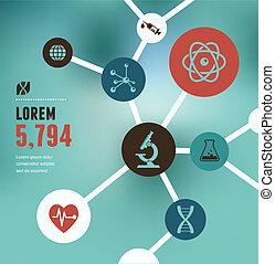 recherche, bio, infographic, technologie, science