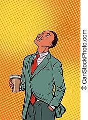recherche, café, boire, africaine, homme affaires