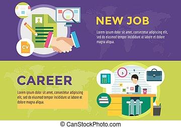 recherche, carrière, travail, métier, infographic, nouveau