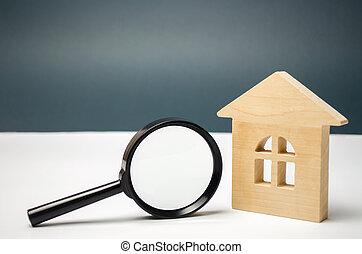 recherche, choix, vrai, bois, apartments., magnifier, maison, emplacement, propriété, maison, propriété, construction., verre., logement, concept., valuation., estimation, recherche
