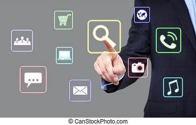 recherche, concept, bouton, -, virtuel, business, écrans, urgent, internet, homme affaires, technologie