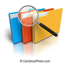 recherche, concept, fichier
