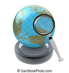 recherche, concept, global, isolé, fond, blanc