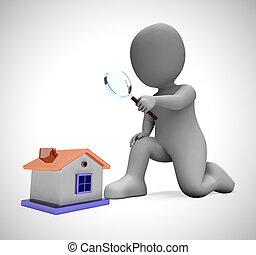 recherche, concept, moyens, maison, -, illustration, regarder, achat, propriété, propriété, 3d