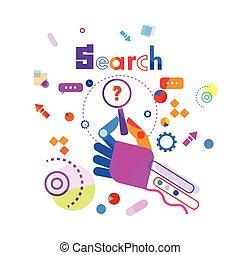 recherche, concept, question, main, verre, tenue, bannière, magnifier
