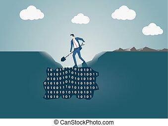 recherche, concept, utile, business, information., intelligence, exploitation minière, creuser, trou, homme, données, terrestre
