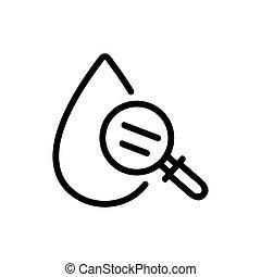 recherche, contour, icône, vecteur, sanguine, illustration