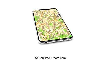 recherche, court, mobile, map., cuts., croissance, téléphone., 4, villes, carte, gps