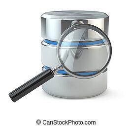 recherche, data., loupe, base données