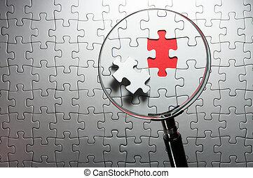 recherche, disparu, morceaux puzzle, verre., magnifier