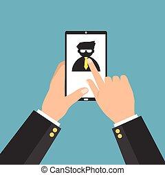 recherche, droit, candidat, téléphone, personnel, tablet., concept., illustration, recrutement, métier, vecteur, mieux, choisir, internet, homme affaires, intelligent