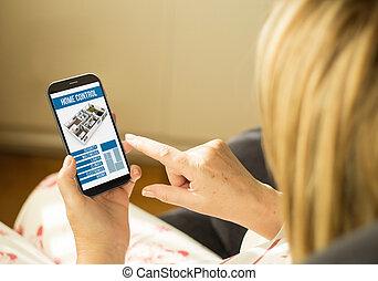 recherche, femme, technologie, smartphone