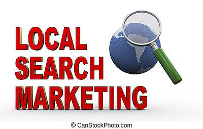 recherche, globe, commercialisation, loupe, local, 3d