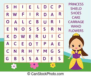 recherche, gosses, mot, vocabulaire, puzzle, pédagogique, theme., conte, jeu, apprentissage, children., princesse, fée, activity.