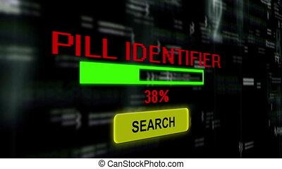 recherche, identificateur, pilule, ligne