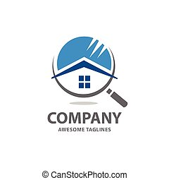 recherche maison, vecteur, logo