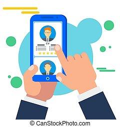 recherche, mobile, application, métier, ligne, personnel