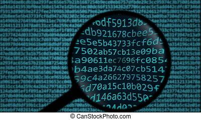 recherche, mot, piraterie, symboles, être, animation, verre., conceptuel, trouvé, informatique, magnifier