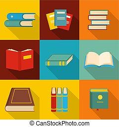 recherche, papier, icônes, ensemble, plat, style