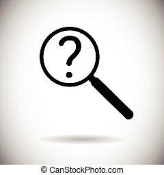 recherche, point interrogation, verre, magnifier, icône