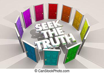 recherche, portes, illustration, réponses, vérité, chercher, trouver, 3d