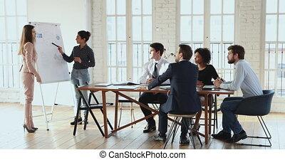 recherche, results., présentation, femme, commercialisation...