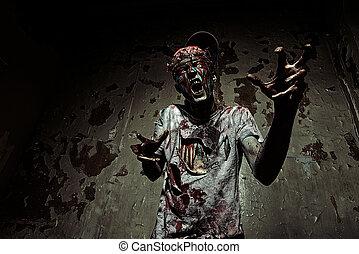 recherche, sien, cerveaux, terrible, sanglant, zombi, victim., homme, dehors