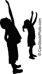 recherche, silhouette, enfants