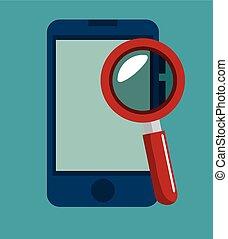 recherche, smartphone, sécurité données, icône