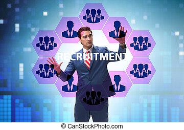 recherche travail ligne, concept, recrutement