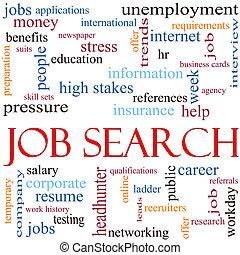 recherche travail, mot, nuage, concept