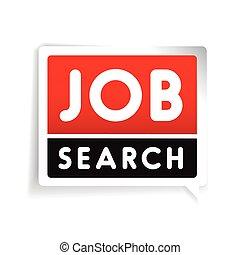 recherche travail, vecteur, étiquette