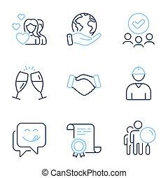recherche, vecteur, gens, couple, délicieux, poignée main, ingénieur, sourire, lunettes, icônes, set., signs., champagne