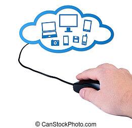 rechnen, concept., hand, computermaus, wolke
