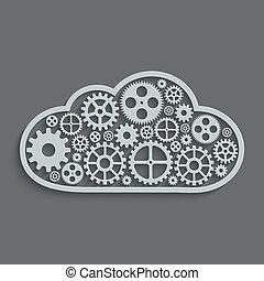 rechnen, concept., modern, mechanismus, vektor, wolke