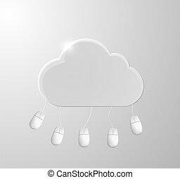 rechnen, wolke, hintergrund, vektor, mouses., illustration., begriff
