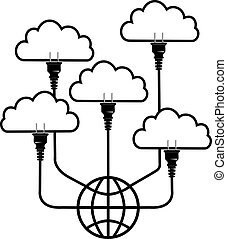 rechnen, wolke, stecker, global, technologie
