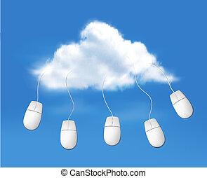 rechnen, wolke, vector., concept.