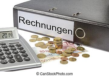 Rechnungen Binder Calculator and Currency - A Binder labeled...