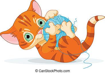 rechoncho, gatito, juguetón