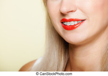 recht maken, gezicht, hygiëne, deel, teeth, het glimlachen, tand, meisje, bretels