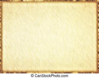rechteckig, leerer , altes , papyrus, mit, brauner, border.